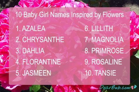 names for baby names for inspired by flowers dearbub