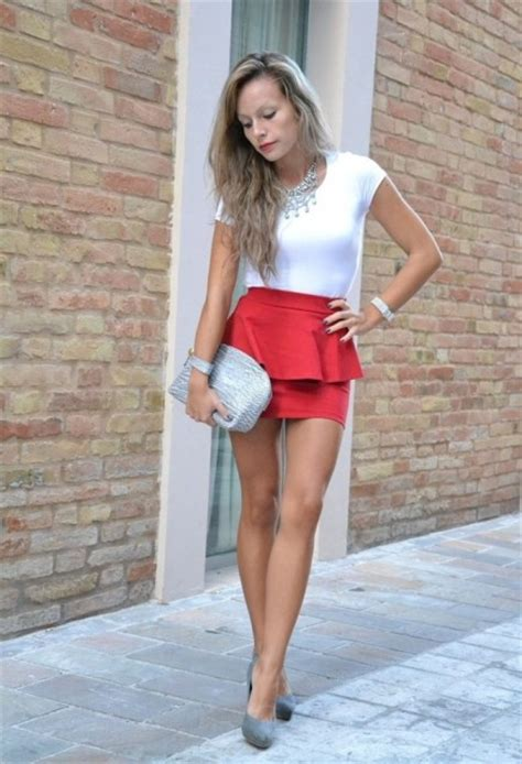picture of red skirt with white t shirt and statement necklace