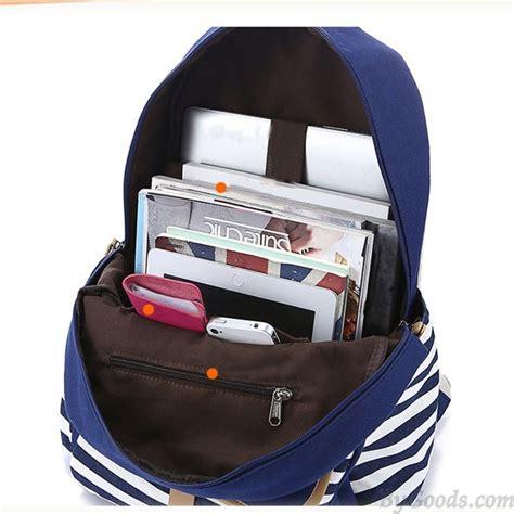 Simple Canvas Backpack Pink Intl simple stripe backpack canvas school bag travel bag