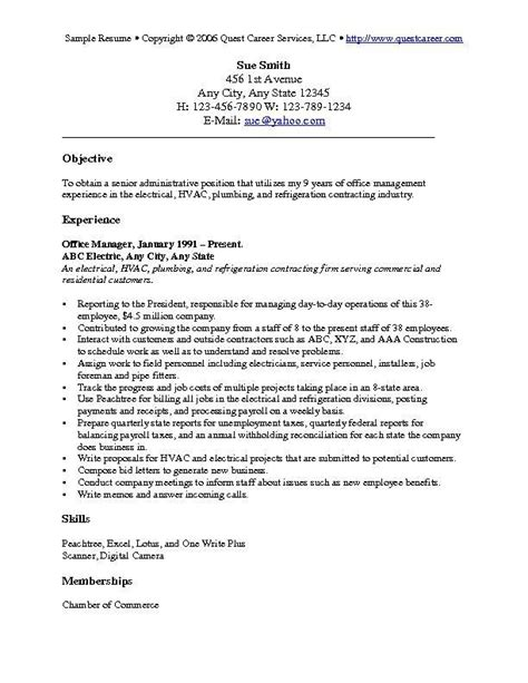Objectives For Resumes by Resume Objective Exles Resume Cv