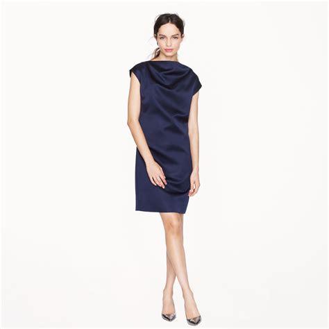 navy drape dress j crew collection draped satin dress in blue navy lyst