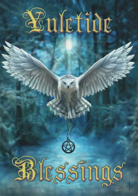 Pagan Home Decor awake your magic owl yule card by anne stokes