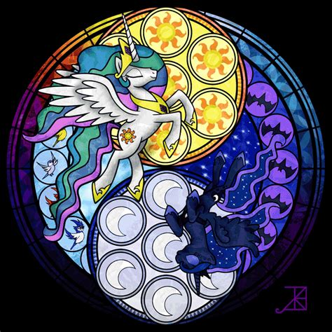 mlp nightmare moon stained glass stained glass sisters by akili amethyst on deviantart