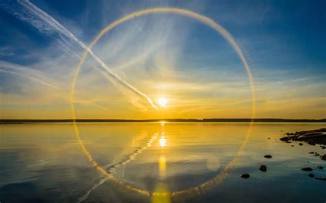 nature landscape water sun reflection clouds circle