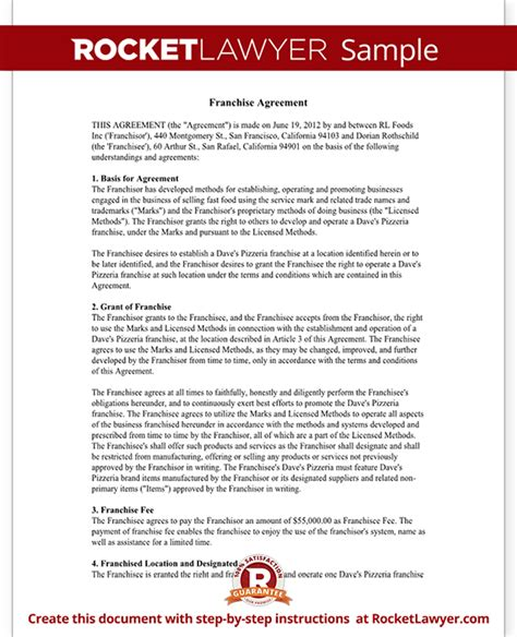 franchise agreement template franchise contract with sle