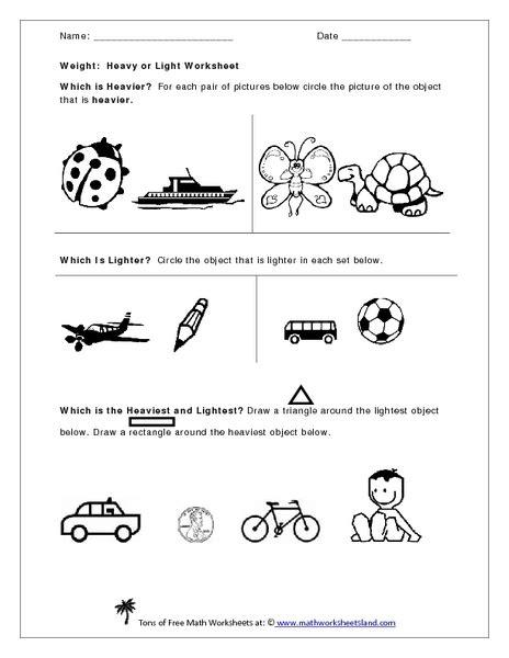 heavy and light worksheet for kindergarten inspirational