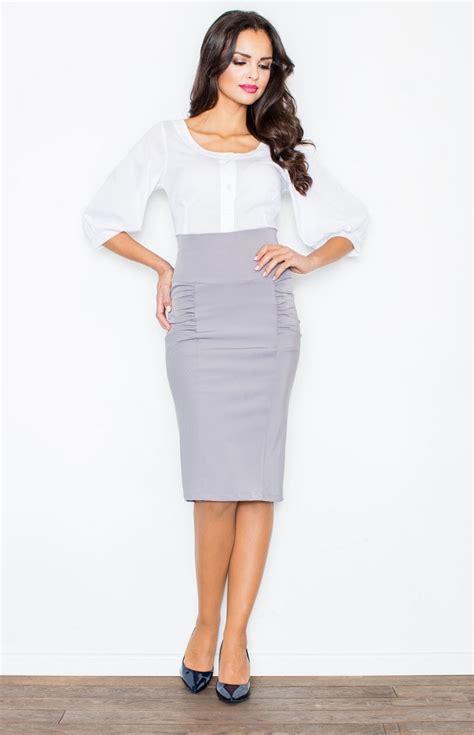 jupe bureau jupe fourreau taille haute grise fl0442g idresstocode