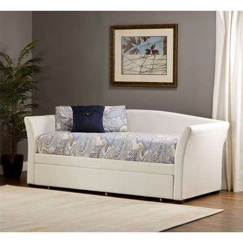 White Trundle Daybed Hillsdale Montgomery Daybed With Trundle In White Faux Leather 1212dbt