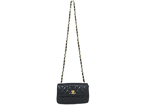 Chanel Calfskin Logo Flap Bag by Auth Chanel Cc Logo Small Mini Flap Bag Shoulder Bag Black