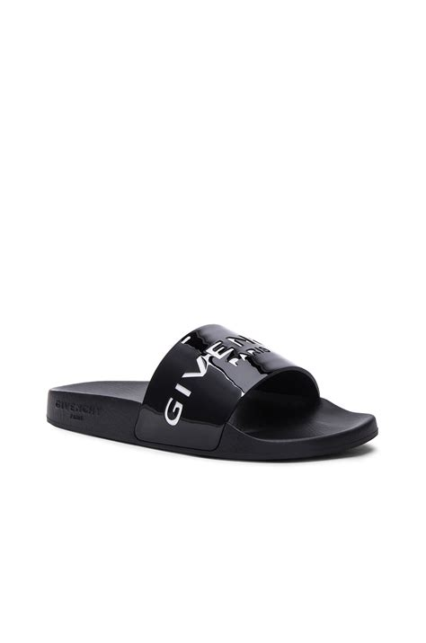 Lyst   Givenchy Logo Patent Leather Slides in Black