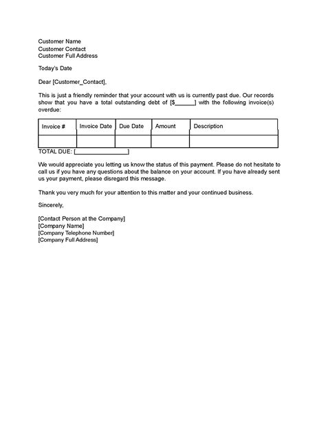 Reminder Letter For Business Reminder Letter Template