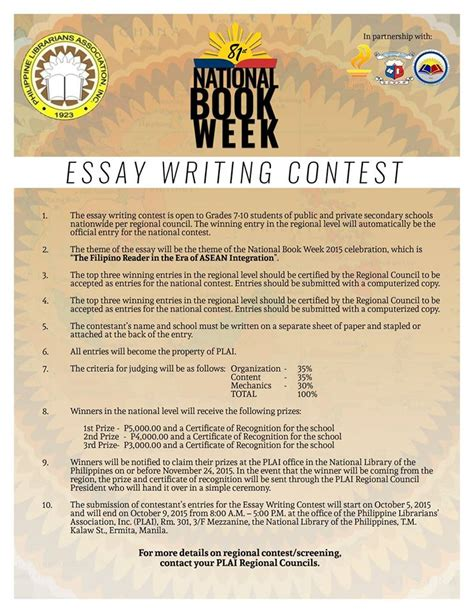 Essay Writing Competitions by Plai Southern Tagalog Region Librarians Council August 2015