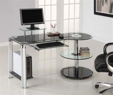 Glass And Chrome Computer Desk Black Glass Chrome Modern Computer Desk Workstation By