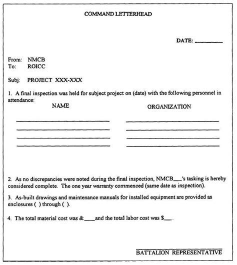 Acceptance Letter By Contractor 6 Best Images Of Construction Project Completion Letter Sle Work Completion Certificate