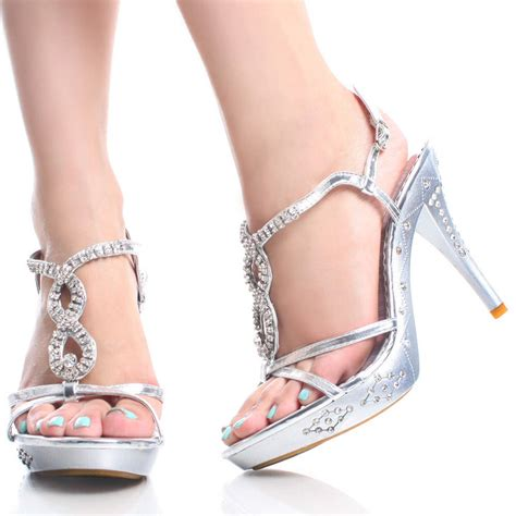 silver strappy high heels silver heels for prom silver rhinestone strappy prom