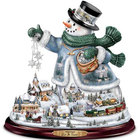 bradford exchange home decor thomas kinkade snowman tabletop centerpiece let it snow