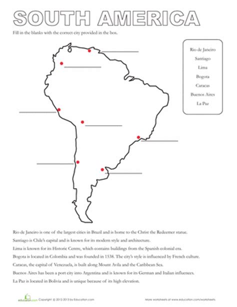Geography Worksheets High School by Map Of South America South America Worksheets And America