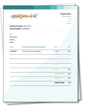 spa receipt template a free massagetherapy receipt and invoice template as