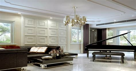 3 Bedroom House Designs by Piano Room Ceiling And Wall Design Rendering