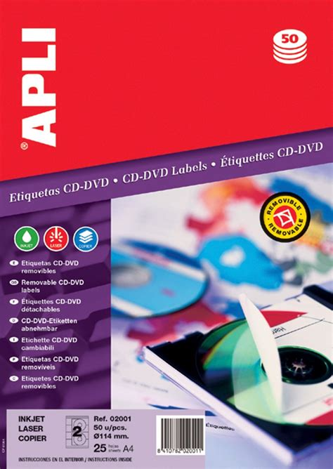 Apli Label White Paper 64 6 X 33 8mm 2400 Unit 01263 cd dvd labels apli diameter 114 41mm white axpen wo蛯omin warsaw price