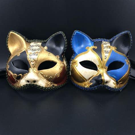 Gold Mask 1kg luxury cat mask lace venetian masquerade mask half carnival mardi gras