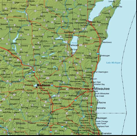 road map wisconsin best photos of detailed wisconsin map detailed wisconsin