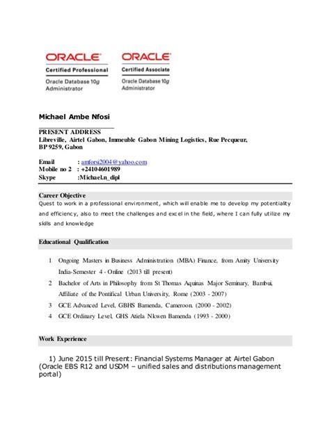 oracle dba resume format for freshers oracle dba fresher resume resume ideas