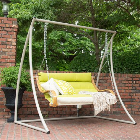 cushioned porch swing echo limelight deluxe cushioned double porch swing