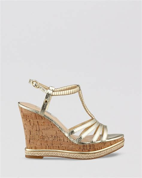 guess open toe platform wedge sandals hilary in gold lyst