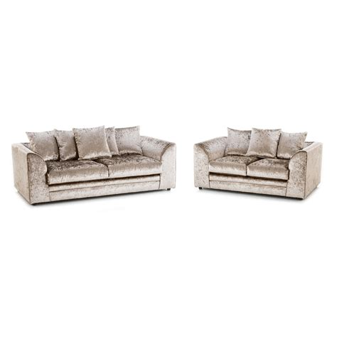 3 seater sofa and 2 seater sofa michigan crushed velvet 3 seater and 2 seater sofa mink