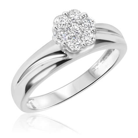 1 2 ct t w trio matching wedding ring set 10k