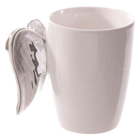 Best Ceramic Mugs by Ceramic White Angel Mug With Silver Wings Handle 14838
