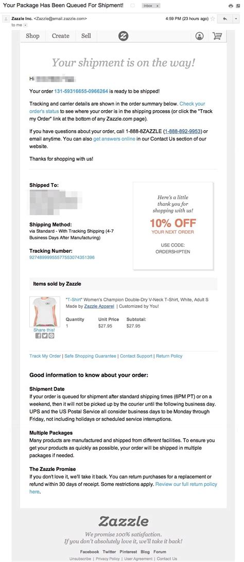 email zazzle how to send a great shipping confirmation email courtesy