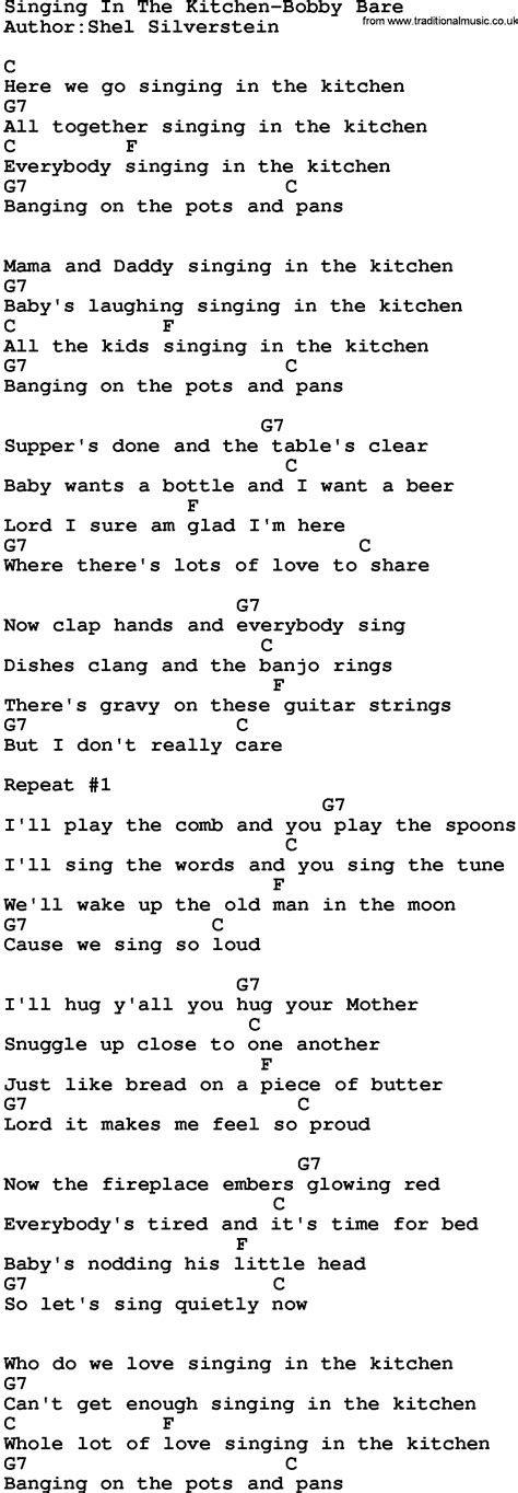Singing In The Kitchen by Country Singing In The Kitchen Bobby Bare Lyrics And
