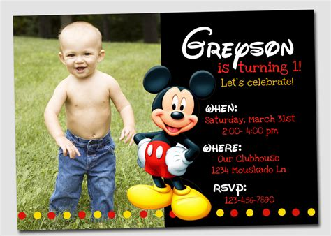customized birthday invitation cards free free mickey mouse clubhouse birthday invitations