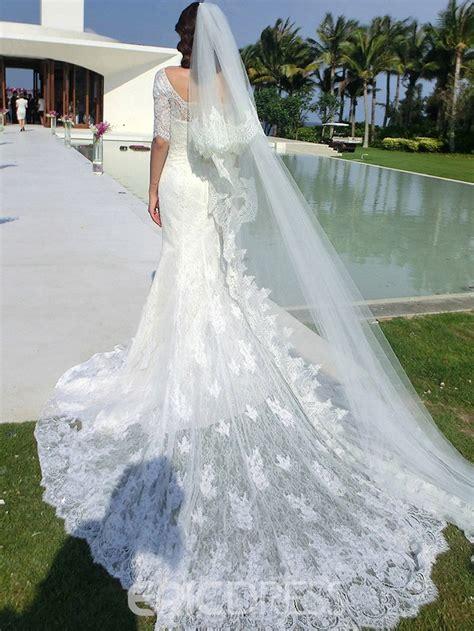 ericdress elegant  sleeves lace train mermaid wedding