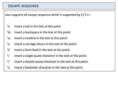 Escape Sequences Quot N T R Java java basics user input data type constructor