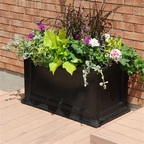 Mayne Planters by Mayne Fairfield 36 In X 20 In Black Plastic Planter