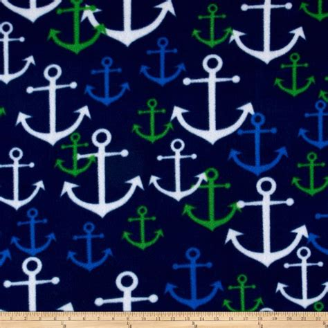 fabric pattern anchor simply nautical anchors fleece navy kelly green discount
