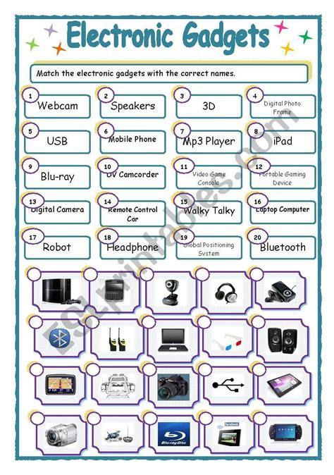 electronic gadgets matching esl worksheet  dingjai
