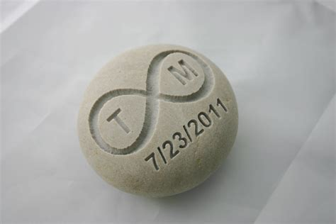 Personalized Infinity Engraved Stone Initials Date Eternity