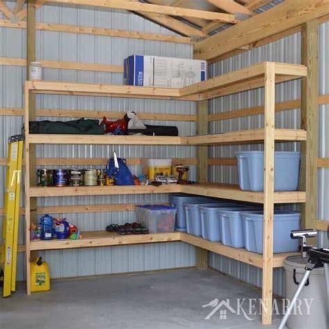 Diy Corner Shelves For Garage Or Pole Barn Storage Diy Shelves Garage