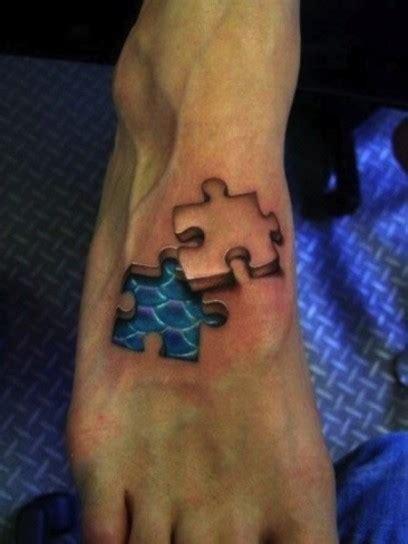tattoo 3d milano pezzi di puzzle tatuaggio in 3d sul piede
