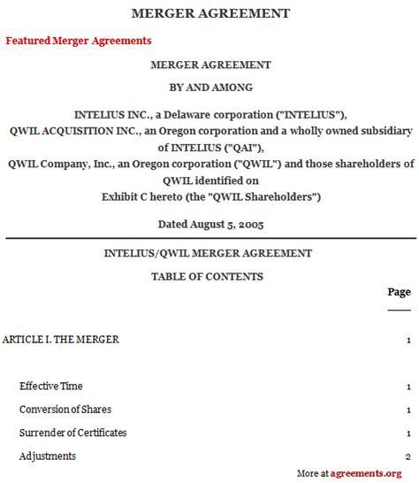 Business Merger Template Business Merger Agreement Template Templates Resume
