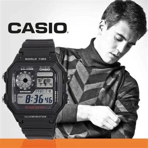Casio Ae 1200wh 1avdf casio quartz world time digital ae 1200wh 1avdf