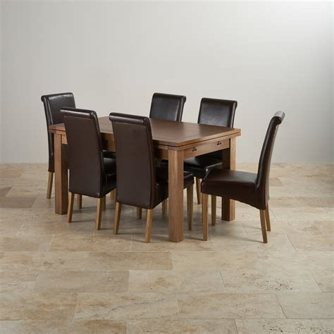 rustic oak dining set 4ft 7 quot extending table with 6 brown