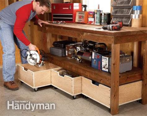 Ideas For Workbench With Drawers Design Diy Workbench Upgrades The Family Handyman