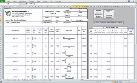 full version bar bending schedule 3 1 bar bending schedule spreadsheet construction estimating