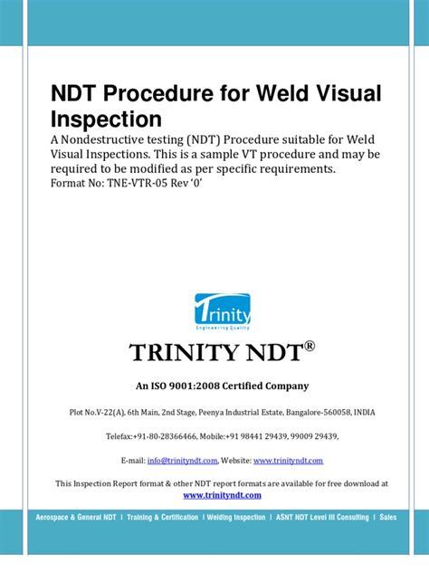 Welding Inspection Ori 1 Ndt Weld Visual Inspection Procedure Free