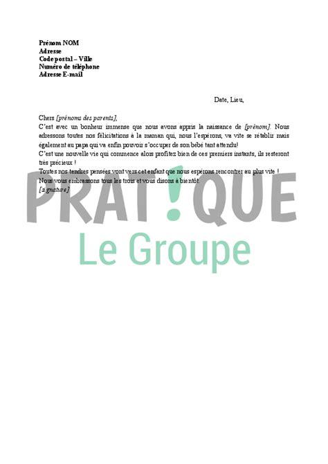 Exemple De Lettre Felicitation Naissance lettre de f 233 licitations naissance d un enfant pratique fr